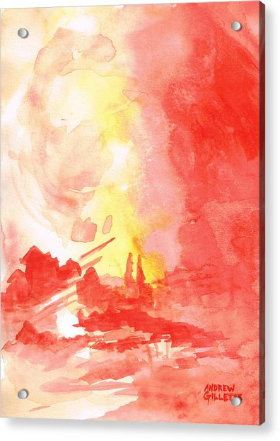 Red Village Abstract 1 Acrylic Print