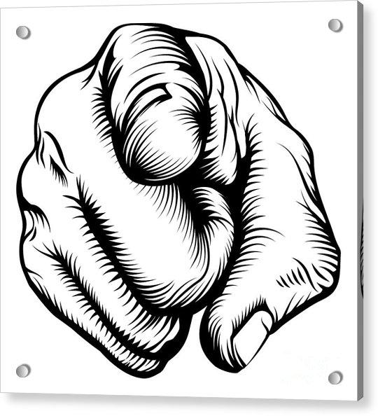 Retro Black Woodcut Print Style Hand Acrylic Print