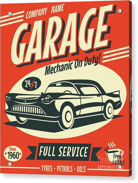 Retro Car Service Sign. Vector Acrylic Print