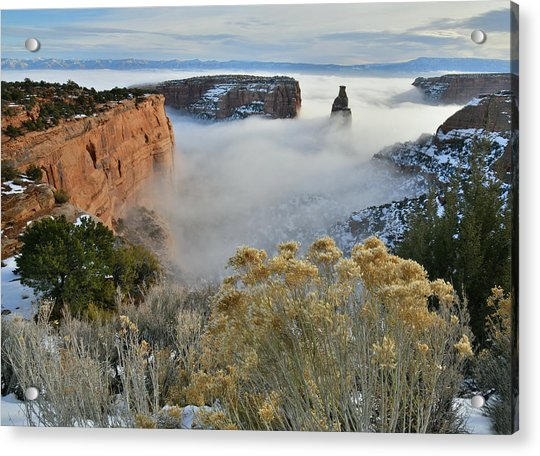 Rim Rock Drive View Of Fogged Independence Canyon Acrylic Print