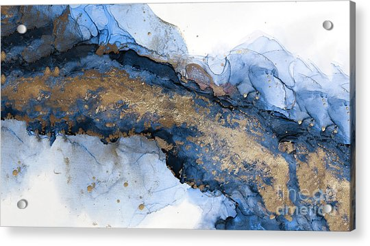 River Of Blue And Gold Abstract Painting Acrylic Print