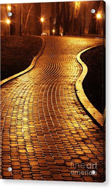 Road To Mariinsky Park At Night In Acrylic Print