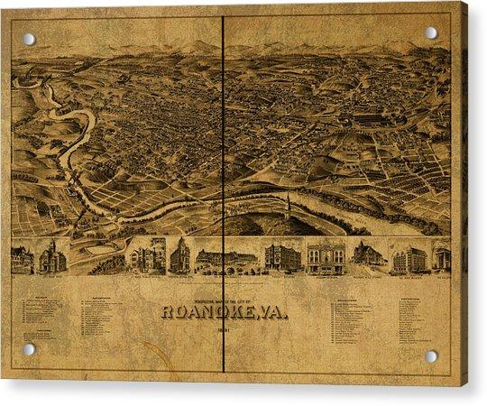 Roanoke Virginia Vintage City Street Map 1891 Acrylic Print