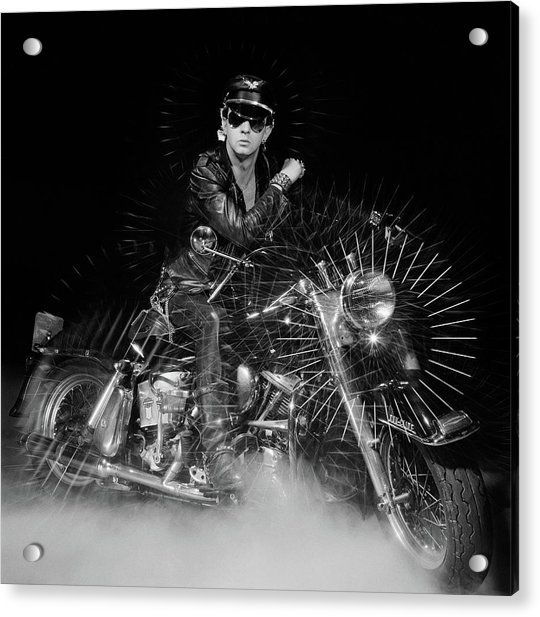 Rob Halford Posed Acrylic Print by Fin Costello