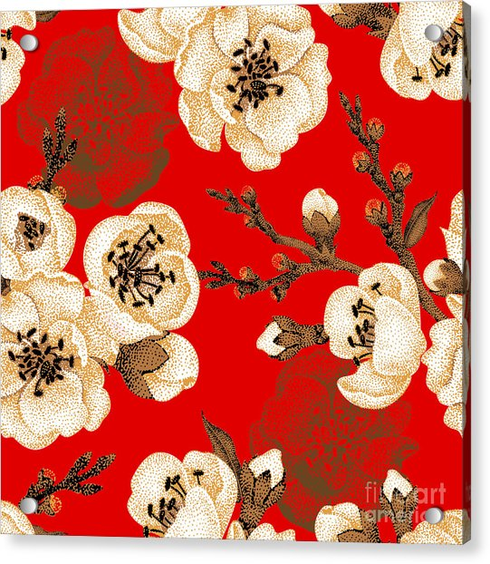 Sakura Branch On Red Background. Vector Acrylic Print