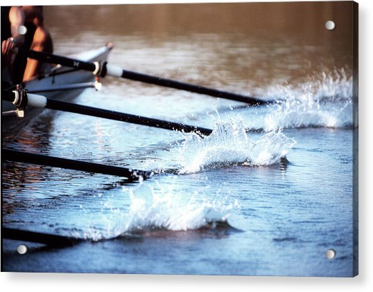 Sculling Team Rowing On Water Acrylic Print by Robert Llewellyn