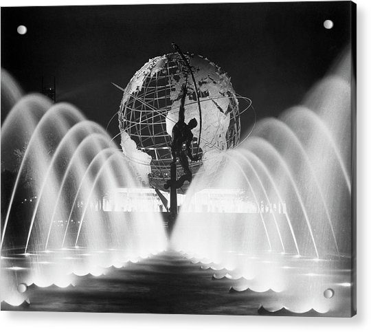 Sculpture, Fountains, And Unisphere At Acrylic Print by Bettmann