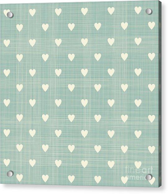 Seamless Hearts Polka Dot Pattern With Acrylic Print