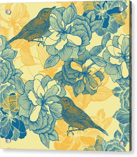 Seamless Pattern With Roses And Bird Acrylic Print