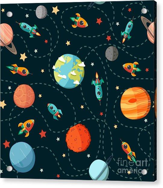 Seamless Space Pattern. Planets Acrylic Print