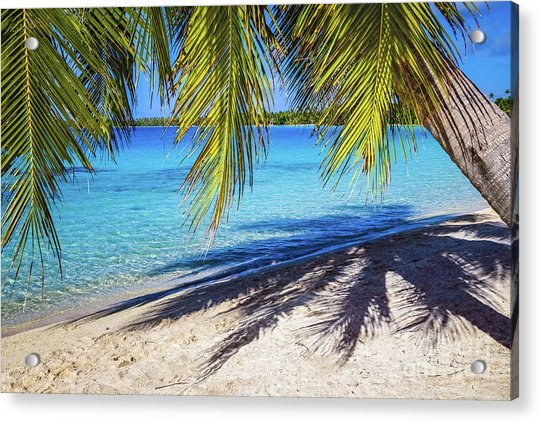 Shadows On The Beach, Takapoto, Tuamotu, French Polynesia Acrylic Print