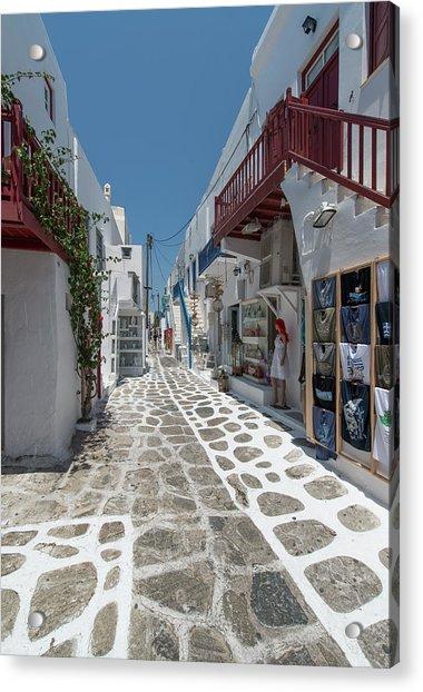 Shopping Street In Mykonos Acrylic Print by Ed Freeman