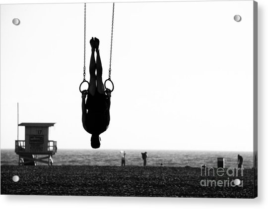 Silhouette Of A Person Swinging On Acrylic Print