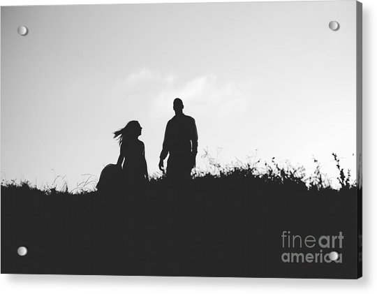 Silhouette Of Couple In Love With Wedding Couple On Top Of A Hil Acrylic Print