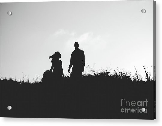 Silhouette Of Couple In Love With Wedding Couple On Top Of A Hill Acrylic Print