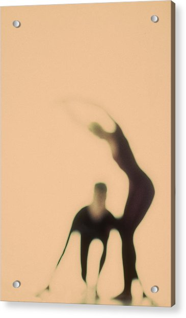Silhouettes Of Couple Doing Exercises Acrylic Print