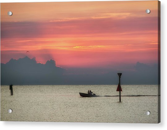 Silhouette's Sailing Into Sunset Acrylic Print