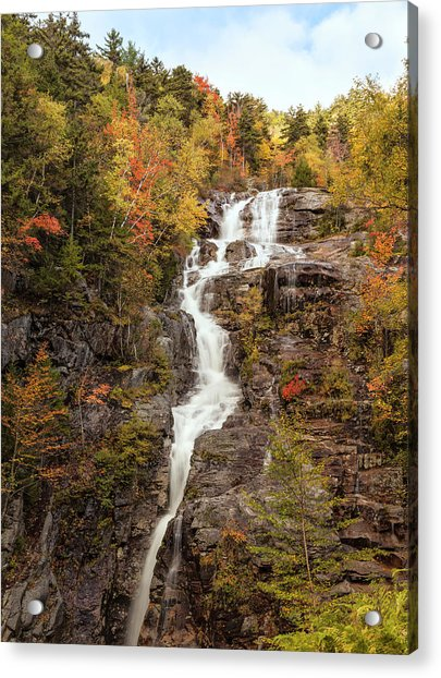 Silver Cascade Waterfall, White Acrylic Print