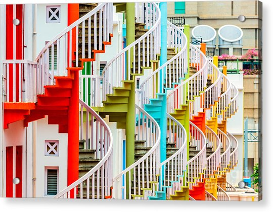 Singapore At Bugis Village Spiral Acrylic Print by Sean Pavone