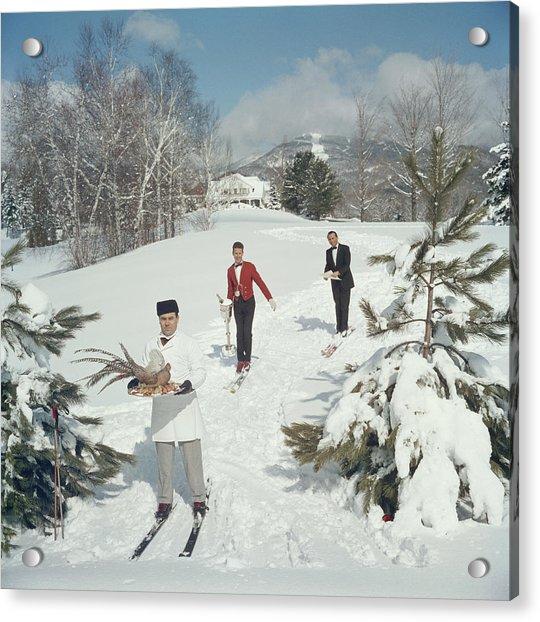 Skiing Waiters Acrylic Print