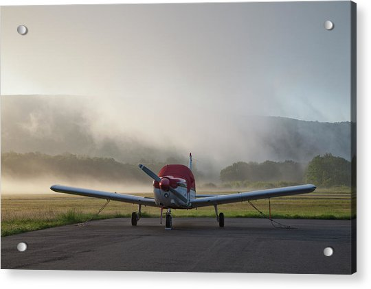 Small Plane At Foggy Airport Acrylic Print