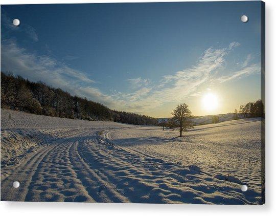 Snow And Sunset Acrylic Print