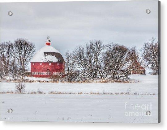 Snow Covered Round Barn Acrylic Print