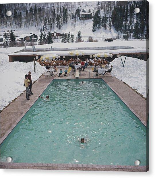 Snow Round The Pool Acrylic Print