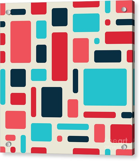 Soft Geometric Pattern In Retro Acrylic Print by Vector Fx