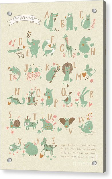 Stylish Zoo Alphabet In Vector. Lovely Acrylic Print by Smilewithjul