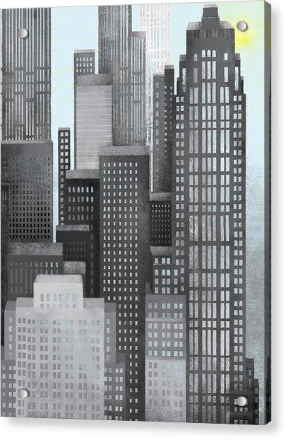 Sun And Skyscrapers Acrylic Print
