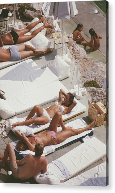 Sunbathers At Eden Roc Acrylic Print by Slim Aarons