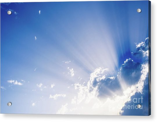 Sunbeams Rising From A Large Cloud In Intense Blue Sky On A Summer Afternoon Acrylic Print