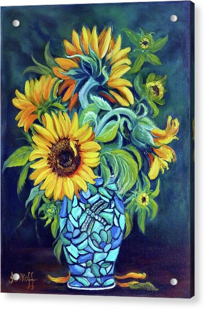 Sunflowers In An Art Deco Vase Acrylic Print by Janet Silkoff