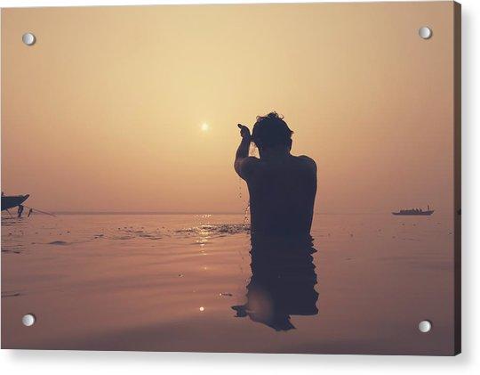 Sunrise At Ganges River, Varanasi Acrylic Print