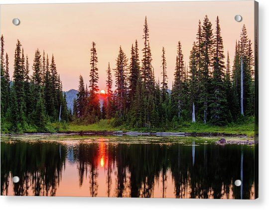 Sunrise From The Reflection Lake Acrylic Print