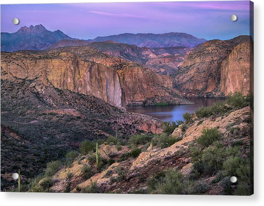 Sunset Over Canyon Lake And Four Peaks Acrylic Print by Dave Dilli