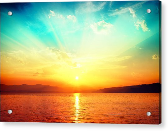 Sunset Over Water Acrylic Print by Alexsava