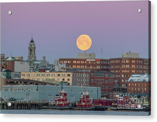 Super Snow Moon Over Portland Acrylic Print