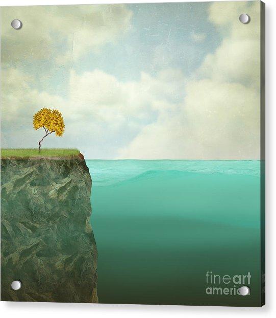 Surreal Illustration Of A Small Tree Acrylic Print by Valentina Photos