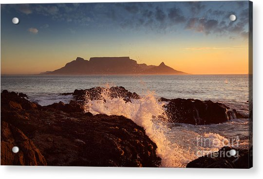 Table Mountain With Clouds, Cape Town Acrylic Print by Dietmar Temps