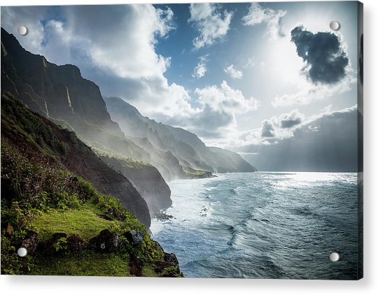 Acrylic Print featuring the photograph The Cliffs Of Kalalau by Tim Newton