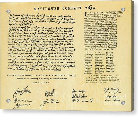 The Mayflower Compact  Acrylic Print