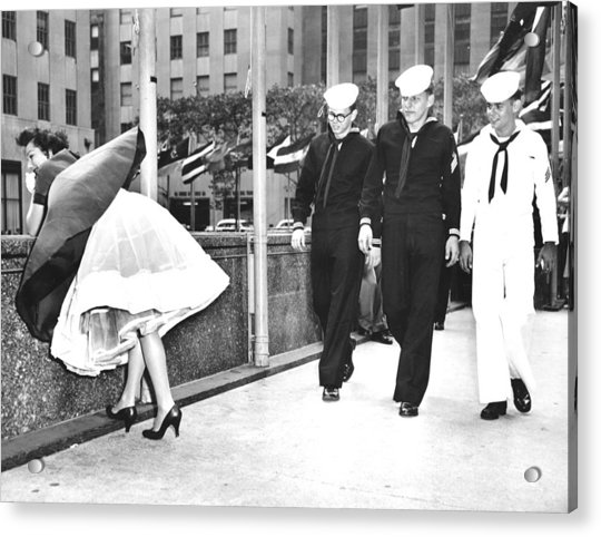 The Wind Is With Them. Helen Evans Acrylic Print by New York Daily News Archive