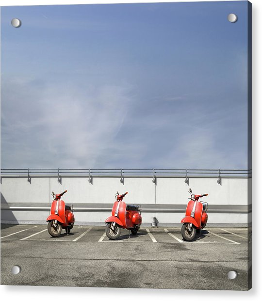 Three Red Motor Scooters At Parking Deck Acrylic Print