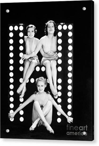 Three Young Women Posing With The Acrylic Print
