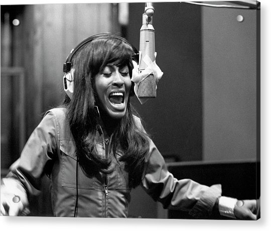 Tina Turner Recording Session Acrylic Print by Michael Ochs Archives