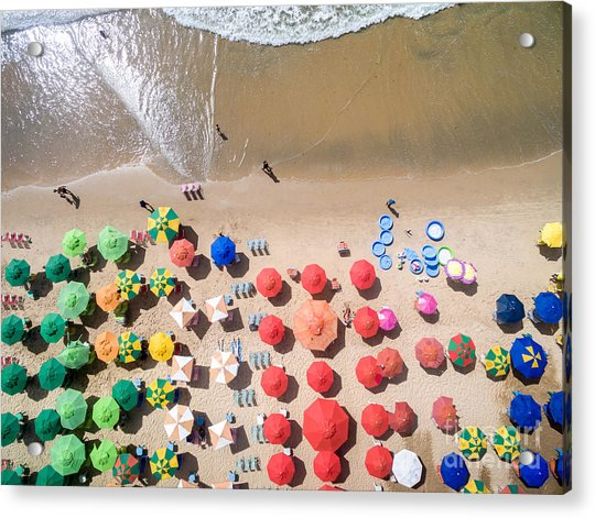 Top View Of Umbrellas In A Beach Acrylic Print