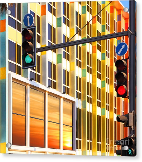 Traffic Lights Against Colorful Acrylic Print