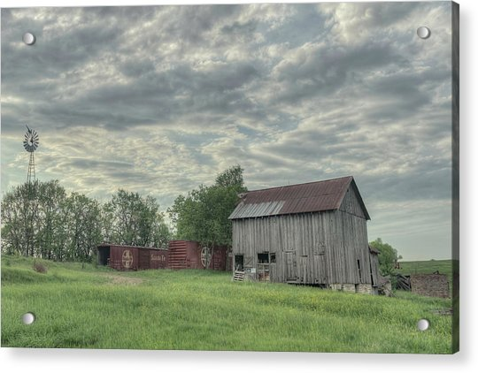 Train Cars And A Barn Acrylic Print